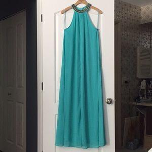 H&M Teal Aqua Beach Pool Party Beaded Long Dress 6